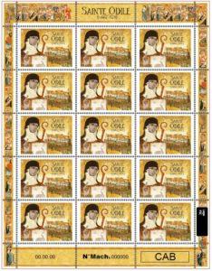 Feuille de 15 timbres Sainte Odile