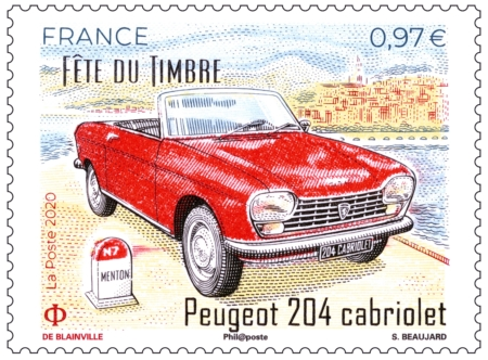 Timbre Peugeot 204 cabriolet Fête du Timbre