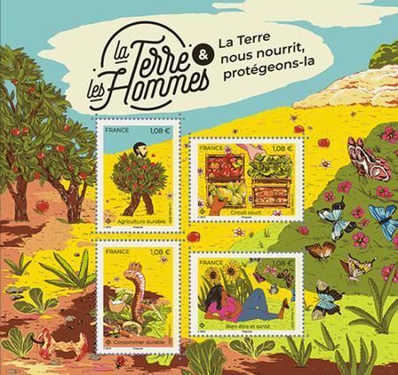 Bloc de timbres La Terre et les Hommes : la terre nous nourrit, protégeons-la.