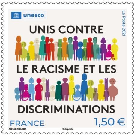 Timbre Unesco Unis contre le racisme discriminations