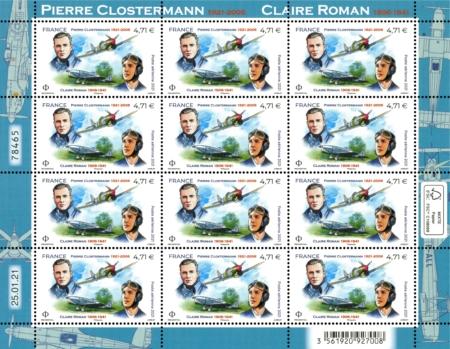 Feuille de timbres Pierre Clostermann Claire Roman