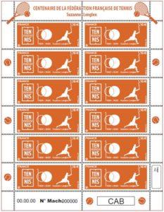 Feuille de 12 timbres Suzanne Lenglen