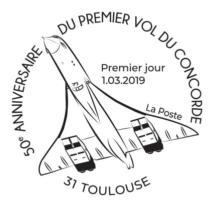 Timbre à date 50e anniversaire Concorde EDT 2019