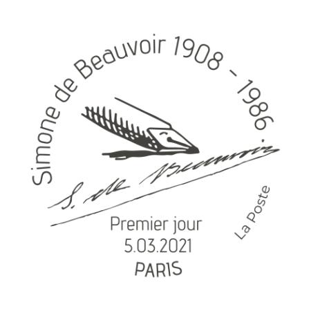 Timbre à date Simone de Beauvoir